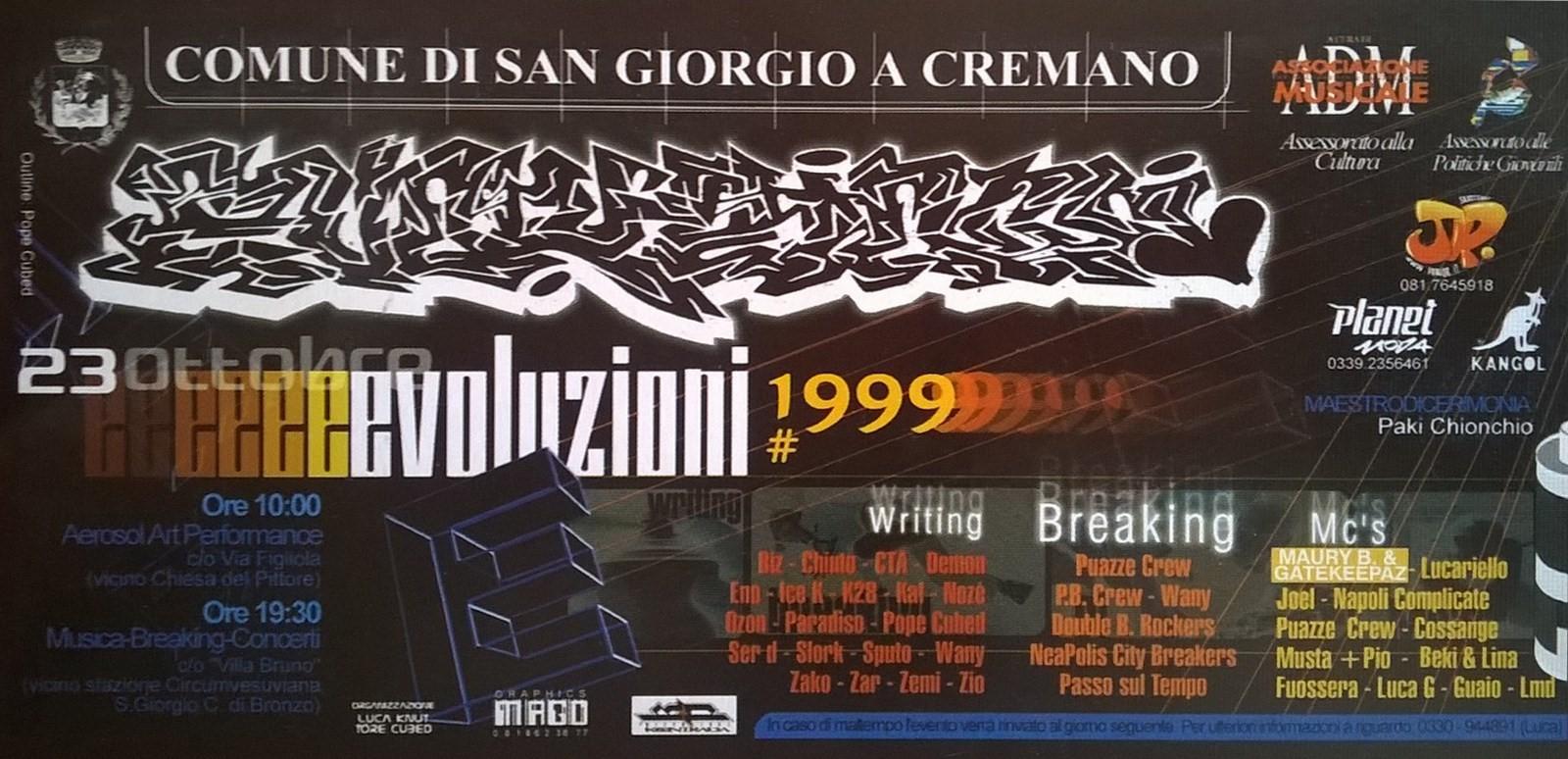 Evoluzioni 1999, seconda convention per la promozione della cultura del writing