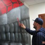 """La prima opera di creatività urbana all'interno di una sede di Governo: """"Berlin"""" di Zeus40 e Rota, porzione del cubo W3 dipinto per il XIX anno dalla caduta del Muro di Berlino. Roma, 2009."""