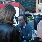 Intervista a Giorgia Melonii durante la performance W3 -  XIX anno dalla caduta del Muro di Berlino