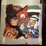 La preparazione dell'opera realizzata per Nartist in collaborazione con INWARD, ispirato al grande murale realizzato negli Emirati Arabi