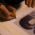 Alephactory, a different imprinting, Maria autografa  le litografie  della sua opera