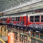 Artworks di Kay One, Airone, Dado e Mambo per le pellicole di rivestimento treni della Circumvesuviana, 2005.