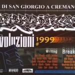 Il flyer della jam Evoluzioni 2, San Giorgio a Cremano (Napoli), 1999. Tra i writers invitati, Chiuto, Kaf, Mr. Wany, Zemi.