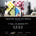 """Invito per la mostra """"Tokyo To Torino"""" di Zedz presentata negli spazi della Square23 Street Art Gallery in collaborazione con Ceres e INWARD"""