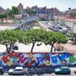 La grande murata realizzata da ShaOne  a Ponticelli nei pressi di Villa Betania.