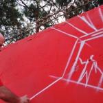 ShaOne a lavoro per la murata conclusiva del progetto CUNTO  a Ponticelli nei pressi di Villa Betania.