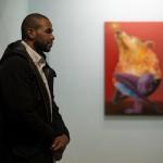 Uno scatto di NOSEGO realizzato durante la presentazione della mostra  ''Electric Breeze''