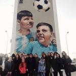 """Street art tour con educatori, adolescenti e bambini dei LET –  Laboratori di Educativa Territoriale """"Il Brutto Anatrocccolo – Casa Generalizia"""" e """"Don Bosco"""" (20 gennaio 2020)."""