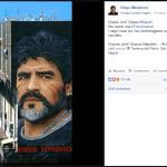 """L'opera """"Diego"""" di Jorit AGOch condivisa dall'account ufficiale di Diego Armando Maradona"""