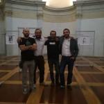 Opening Cinquanta Segnalibri a Torino: Luca Borriello, direttore ricerca INWARD, e Salvatore Pope Velotti, direttore sviluppo INWARD, insieme agli artsiti Fijodor Benzo e Corn79