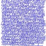 Bozzetto del testo scritto da Zeus40 sul fondo dell'opera