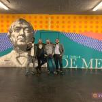 """""""Labes"""": l'opera di Biodpì alla stazione Vesuvio De Meis. L'artista con il collaboratore Spear Saidy, Luca Borriello, direttore ricerca INWARD, e Salvatore Pope Velotti, direttore sviluppo INWARD"""
