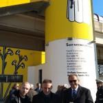 """""""Fides, Spes et Caritas"""": inaugurazione dell'opera di IABO alla stazione EAV di Brusciano. Con il presidente EAV Umberto de Gregorio e il sindaco del Comune di Brusciano Peppe Montanile."""